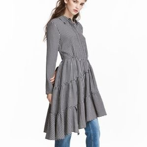 H&M Asymmetric Gingham Plaid Dress